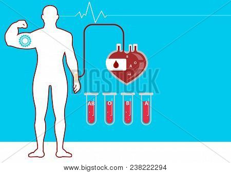 Blood Bag And Hand Of Donor With Heart. Blood Donation Day Concept. Human Donates Blood. Illustratio