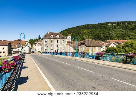 Typical Small Village L-isle-sur-le-doubs In France