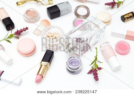 Perfume And Cosmetics Set On A White Background. Beauty