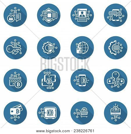 Bitcoin And Blockchain Crypto Protection Technology Icons. Modern Computer Network Technology Sign S