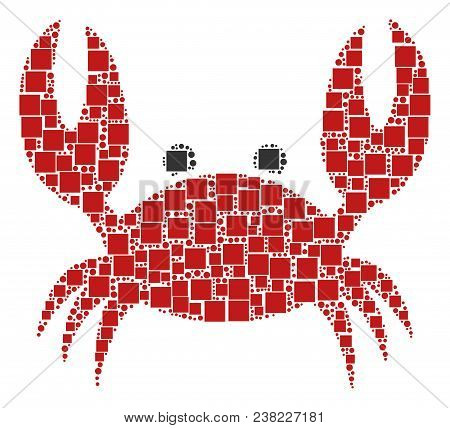 Crab Composition Icon Of Rectangles And Spheric Dots In Variable Sizes. Vector Objects Are Scattered