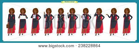 Set Of Black Businesswoman Character Design.front, Side, Back View Animated Character.business Girl