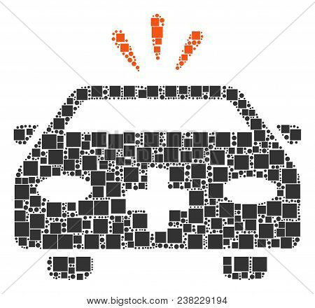 Emergency Car Composition Icon Of Squares And Circle Particles In Different Sizes. Vector Items Are