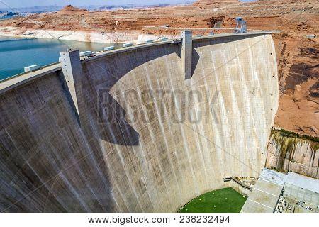 Famous Glen Canyon Dam Near Page, Arizona, Usa