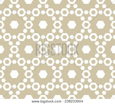 Minimalist Geometric Seamless Pattern With Delicate Hexagonal Lattice. Subtle White And Beige Hexago