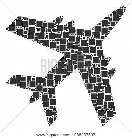Jet Plane Mosaic Icon Of Square Figures And Circles In Different Sizes. Vector Objects Are Scattered