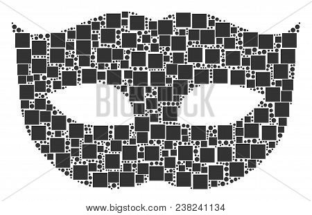Privacy Mask Composition Icon Of Square Shapes And Circle Particles In Various Sizes. Vector Objects