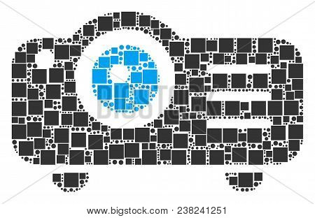 Projector Mosaic Icon Of Square Shapes And Circle Particles In Various Sizes. Vector Items Are Combi