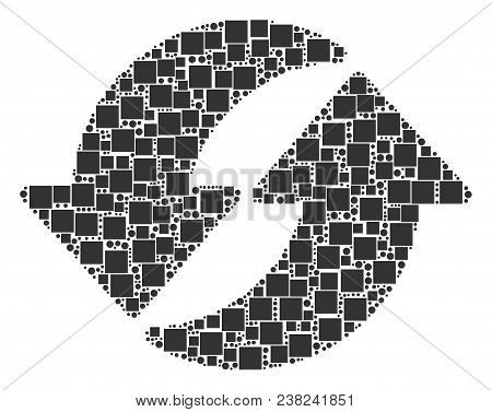 Refresh Mosaic Icon Of Squares And Round Items In Various Sizes. Vector Objects Are Organized Into R