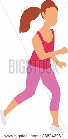 Running Girl Flat Isolated Vector Illustration. Young Woman Runner Running On Road. Stock Vector