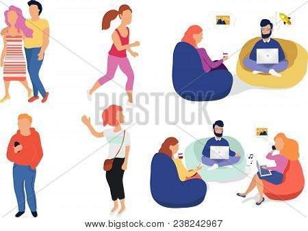 Crowd Of Peoplevector Illustration. Group Of Male And Female Flat Cartoon Business Characters Isolat