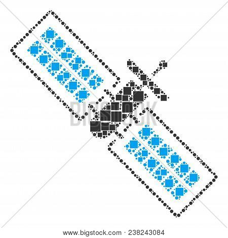 Satellite Composition Icon Of Square Shapes And Spheric Dots In Variable Sizes. Vector Objects Are S