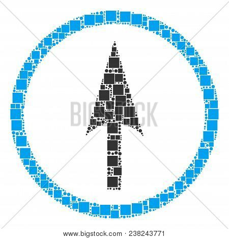 Sharp Rounded Arrow Mosaic Icon Of Square Figures And Round Items In Different Sizes. Vector Items A
