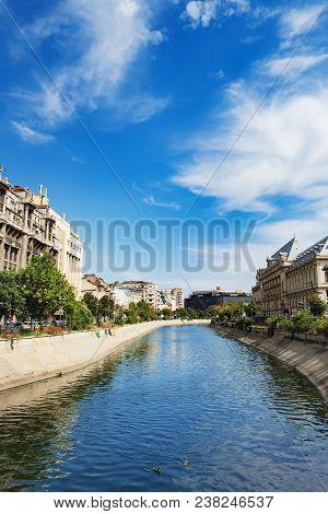 Bucharest, Romania - September 9, 2017: Dambovita River In Downtown Of Bucharest, Romania. View From