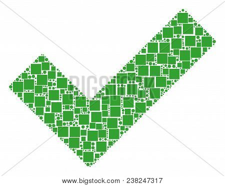 Yes Composition Icon Of Square Shapes And Spheric Dots In Various Sizes. Vector Items Are Formed Int