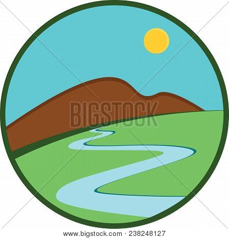 Logo Template. Summer Landscakpe, Mountain, River And Green Grass In A Flat Style