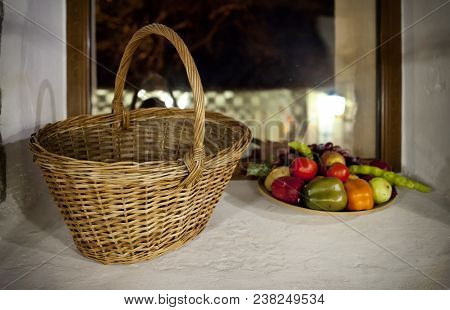 Two Baskets With Decorative Fruits And Vegetables