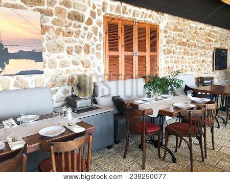 Acre, Israel - September 5, 2017: Interior Of The Restaurant In The City Of Acre, Israel.