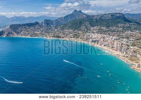 Coastline Of Mediterranean Resort Calpe, Spain With Sea And Lake