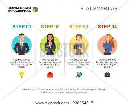 Step By Step Guide Slide Template. Chart, Design. Creative Concept For Infographic, Report. Can Be U