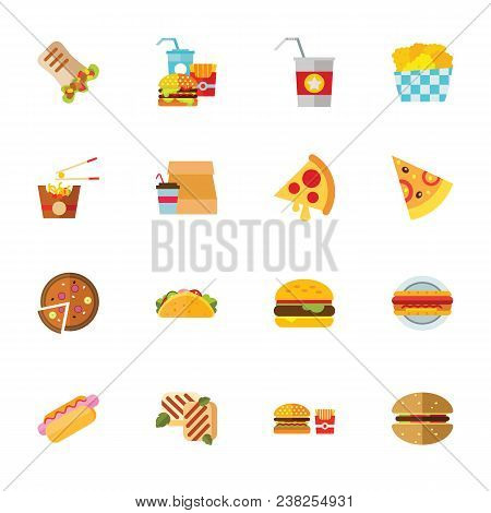 Fast Food Collection. Colorful Flat Icon Set. American Food, Fat Meal, Snack. Meal Concept. For Topi