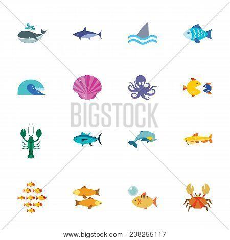 Marine Life Collection. Colorful Flat Icon Set. Sea Animal, Aquatic Fauna, Fish. Sea Concept. For To