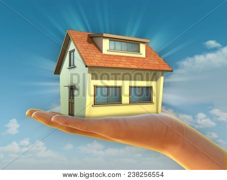 Hand holding a residential building over a bright sky. 3D illustration.