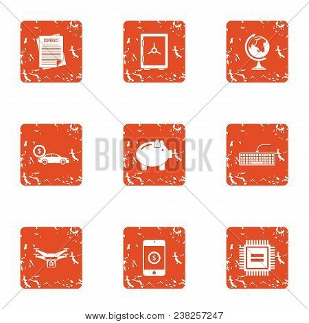 Cyber News Icons Set. Grunge Set Of 9 Cyber News Vector Icons For Web Isolated On White Background