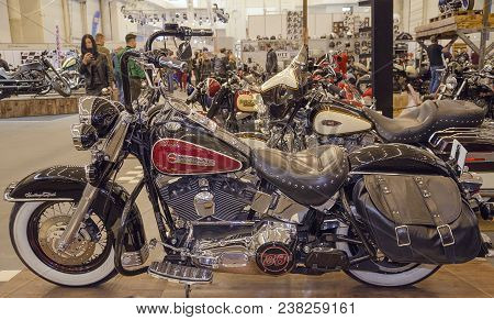 Kiev, Ukraine April 20, 2018, Motobike Is Represented At An Exhibition Held In The International Exh