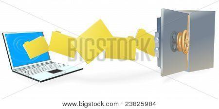 Ordenador portátil de transferencia segura de archivos