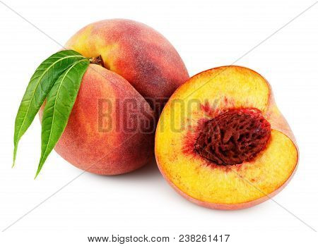 Ripe Whole Peach With Green Leaves And Half Peach Isolated On White Background With Clipping Path