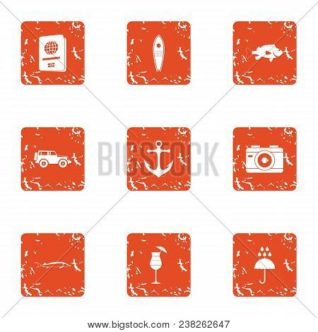 Travel Heartland Icons Set. Grunge Set Of 9 Travel Heartland Vector Icons For Web Isolated On White