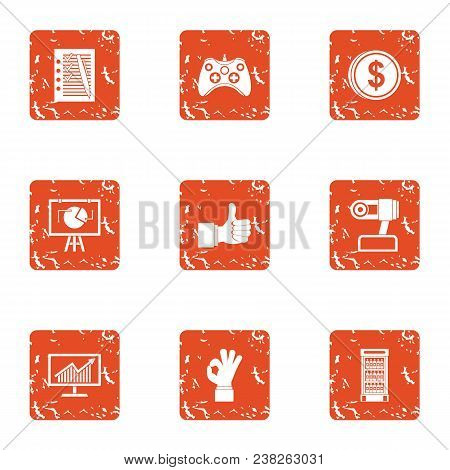 Payday Icons Set. Grunge Set Of 9 Payday Vector Icons For Web Isolated On White Background