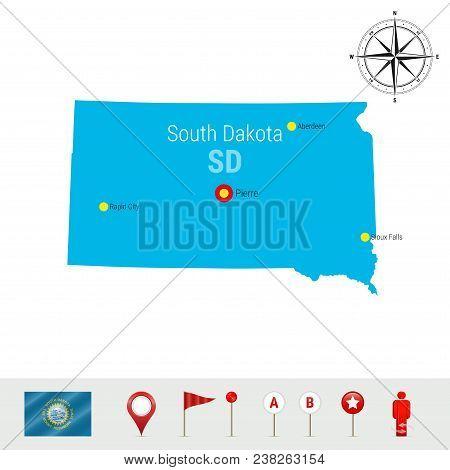 South Dakota Vector Map Isolated On White. High Detailed Silhouette Of South Dakota State. Vector Fl