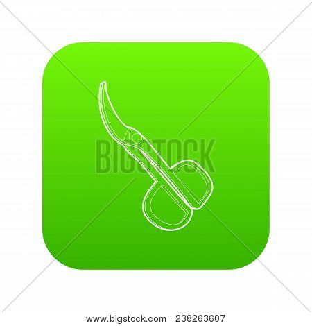 Scissors Icon Green Vector Isolated On White Background