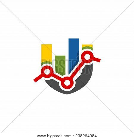 Abstract Colorful Shield Shape Financial Logo. Finance Bar Chart Or Stock Exchange Icon Symbol. Logo