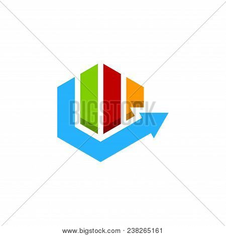 Abstract Colorful Hexagon Financial Logo. Finance Arrow Bar Chart Or Stock Exchange Icon Symbol. Log
