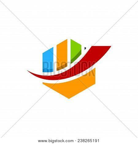Abstract Colorful Hexagon Financial Logo. Finance Bar Chart Or Stock Exchange Icon Symbol. Logo Temp
