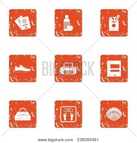 Sport Occupation Icons Set. Grunge Set Of 9 Sport Occupation Vector Icons For Web Isolated On White