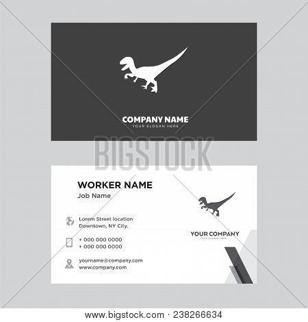 Black Velociraptor Business Card Design Template, Visiting For Your Company, Modern Creative And Cle