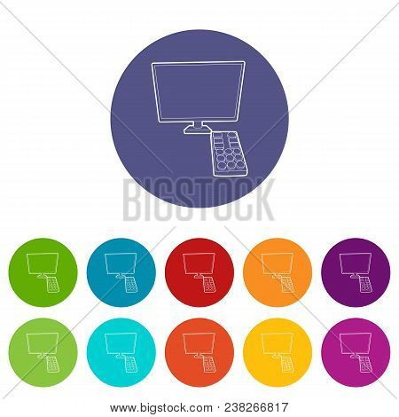 Tv With Remote Icon. Outline Illustration Of Tv With Remote Vector Icon For Web