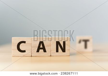 Personal Development And Career Growth Or Change Attitude Yourself Concept. Wood Block Cube With Wor