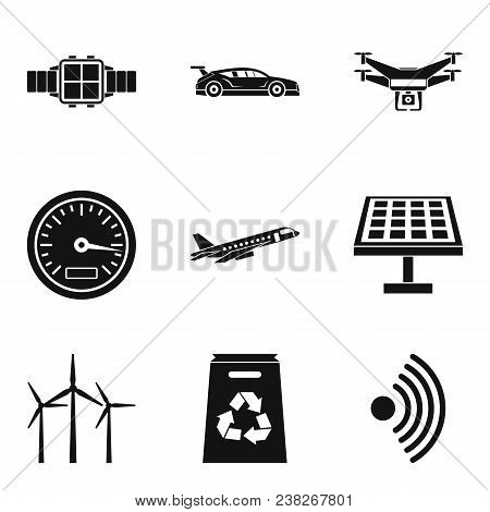 Wireless Radio Icons Set. Simple Set Of 9 Wireless Radio Vector Icons For Web Isolated On White Back