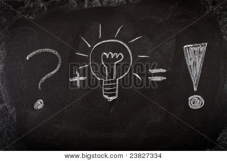 Concept of problem solving by good idea on blackboard