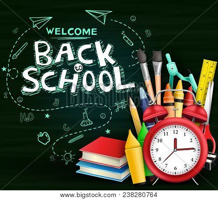 Welcome Back To School Text With Hand Drawn Doodle And Various Kind Of School Items In Green Chalkbo