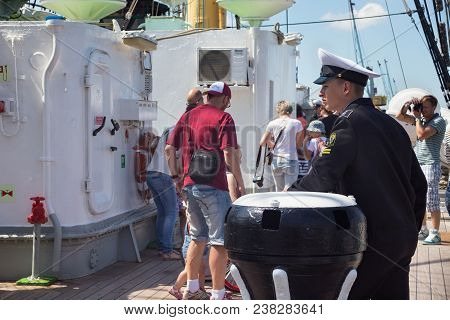 Kaliningrad, Russia - June 19, 2016: Unknown Cadet Of The Kaliningrad Marine Fisheries College On Th