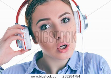 Beautiful Woman With Headphones Daydreaming - Isolated Over White