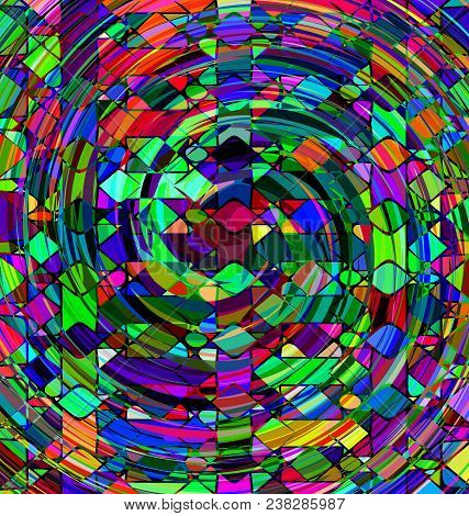 Abstract Colored Background Image Consisting Of Lines And Spiral