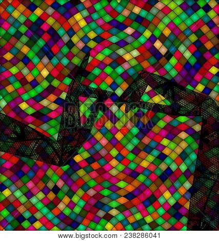 Many Colored Background Image Consisting Of Lines And Cubes With Two Abstract Lace Hands