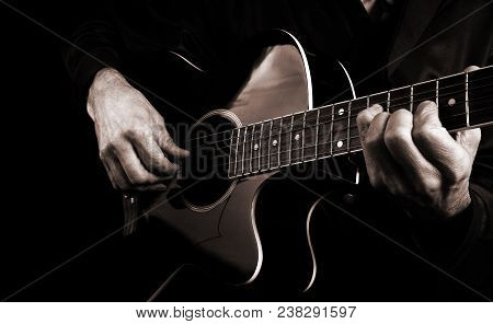 Guitarist Hands And Guitar Close Up. Playing Guitar. Play The Guitar. Copy Spaces.